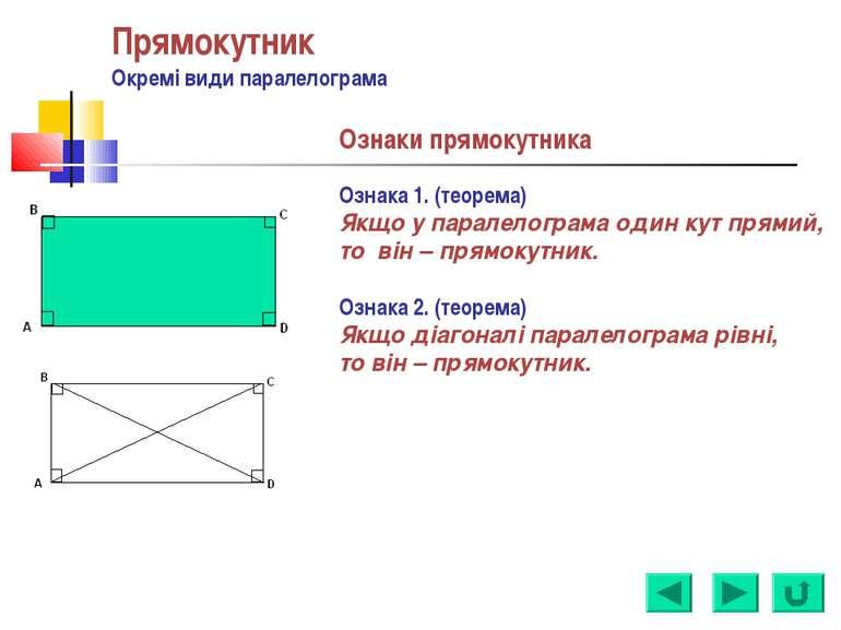 Прямокутник Окремі види паралелограма Ознаки прямокутника Ознака 1. (теорема)...