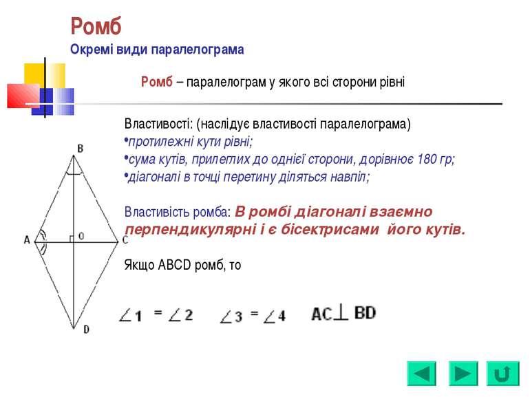 Ромб Окремі види паралелограма Ромб – паралелограм у якого всі сторони рівні ...