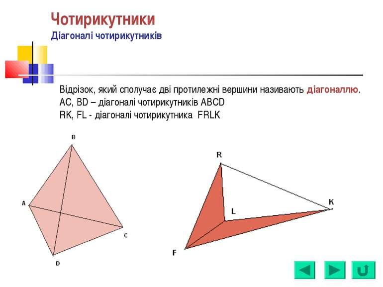 Відрізок, який сполучає дві протилежні вершини називають діагоналлю. AC, BD –...