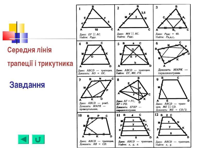 Середня лінія трапеції і трикутника Завдання