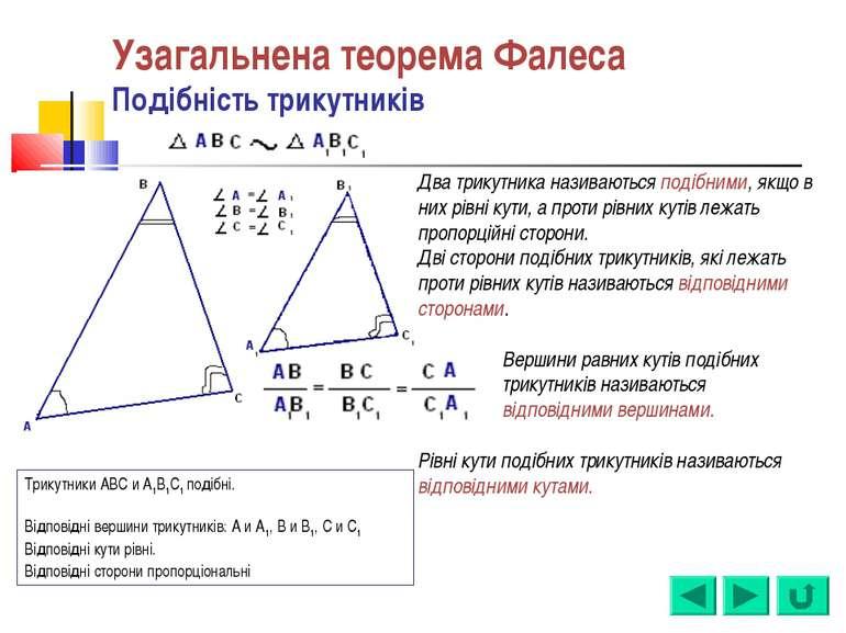 Узагальнена теорема Фалеса Подібність трикутників Два трикутника називаються ...