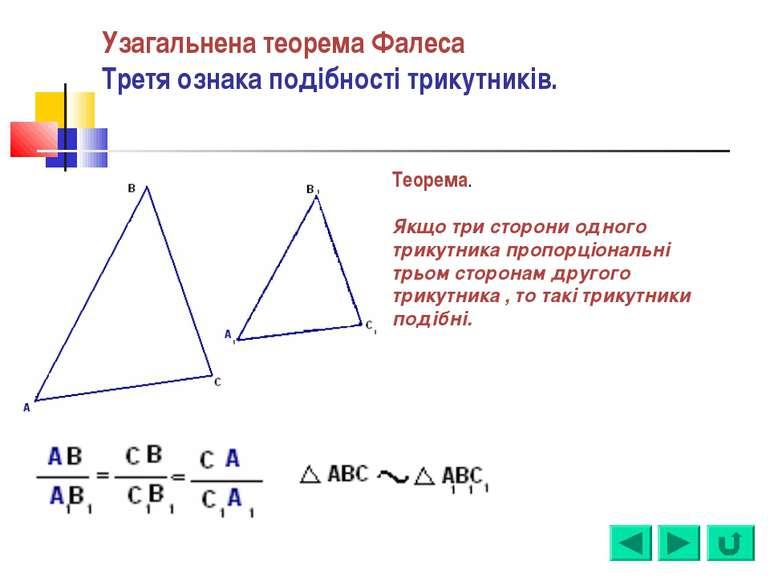 Узагальнена теорема Фалеса Третя ознака подібності трикутників. Теорема. Якщо...