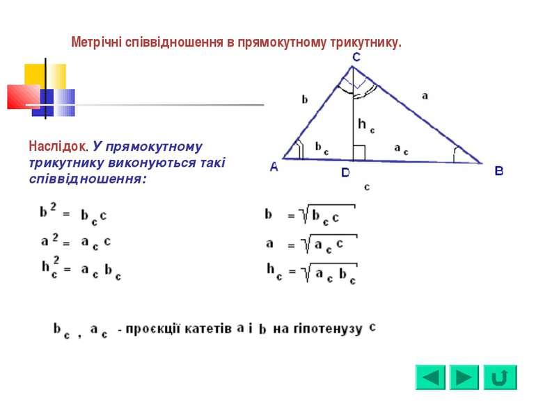 Наслідок. У прямокутному трикутнику виконуються такі співвідношення: Метрічні...