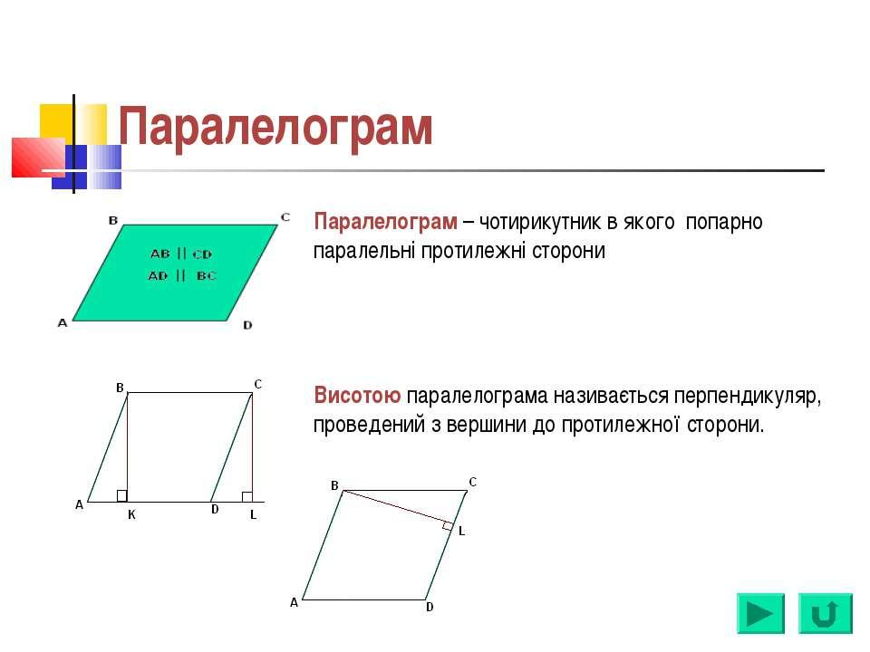Паралелограм Паралелограм – чотирикутник в якого попарно паралельні протилежн...