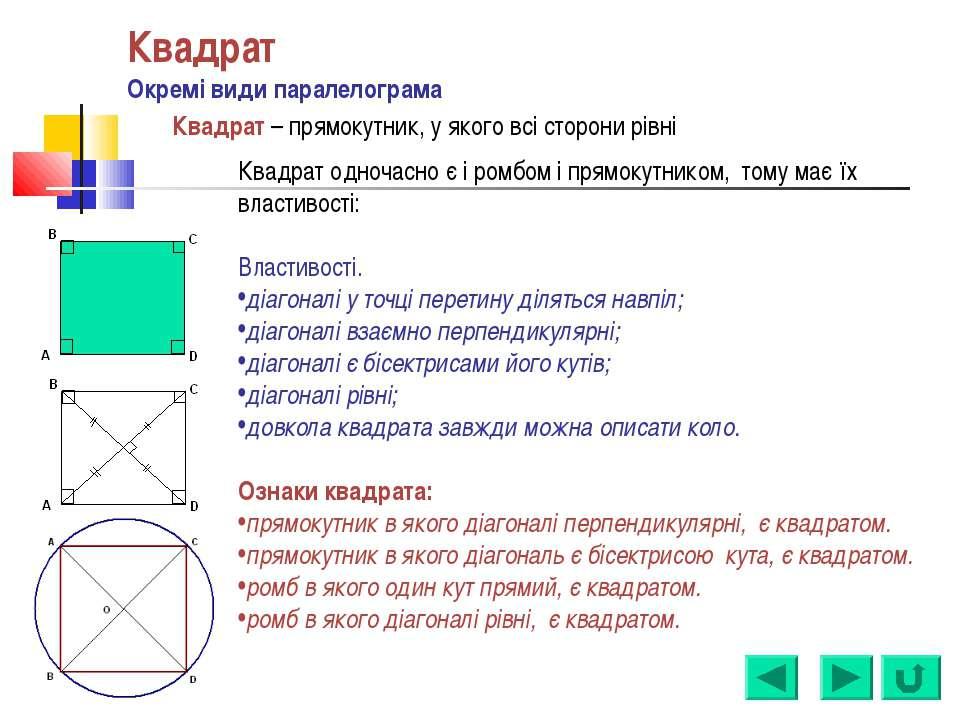 Квадрат Окремі види паралелограма Квадрат – прямокутник, у якого всі сторони ...