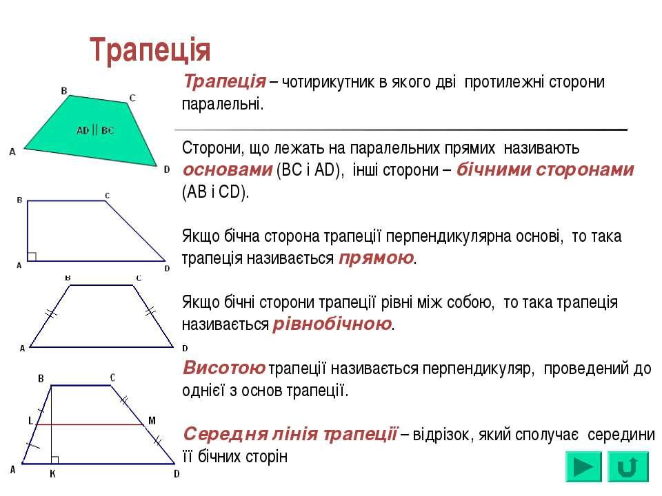 Трапеція Трапеція – чотирикутник в якого дві протилежні сторони паралельні. С...