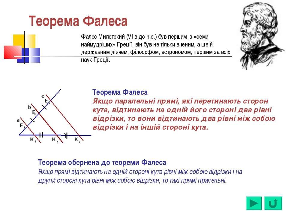 Теорема Фалеса Теорема Фалеса Якщо паралельні прямі, які перетинають сторон к...