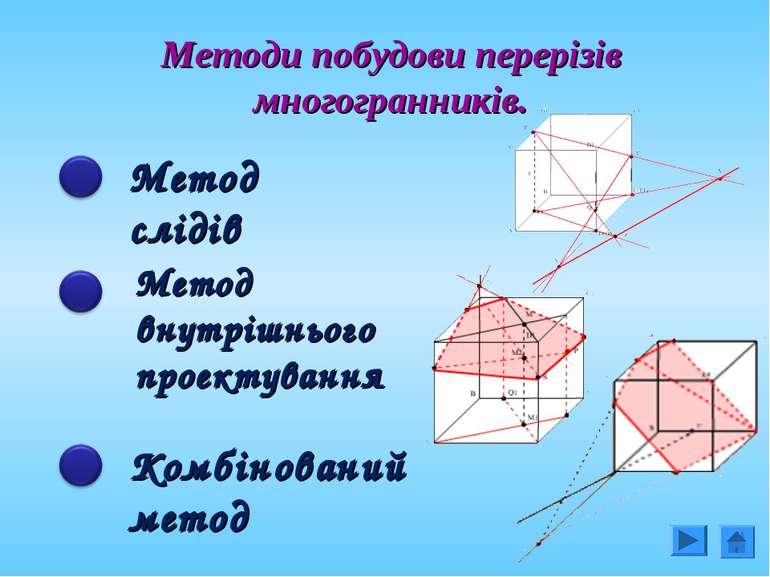 Методи побудови перерізів многогранників. Метод слідів Метод внутрішнього про...