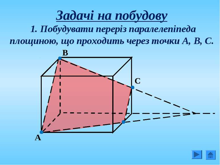 Задачі на побудову 1. Побудувати переріз паралелепіпеда площиною, що проходит...