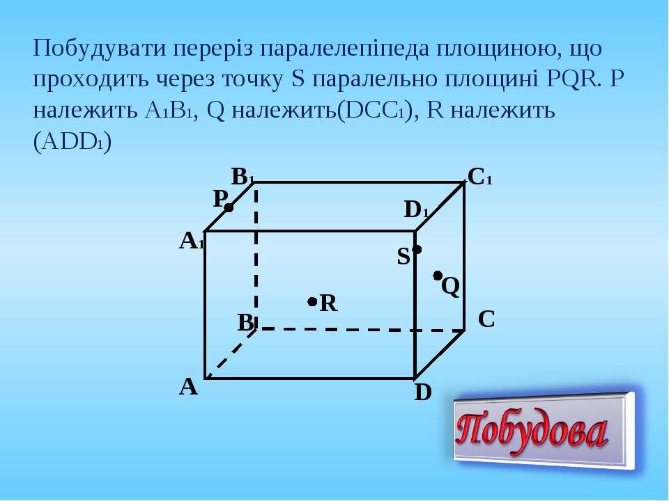 Побудувати переріз паралелепіпеда площиною, що проходить через точку S парале...