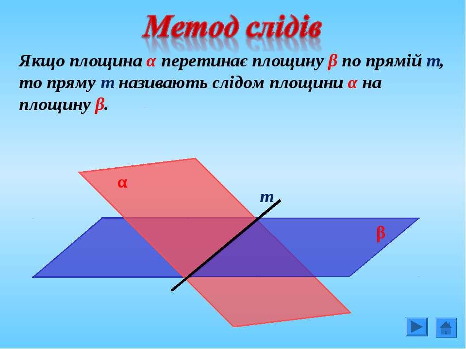 Якщо площина α перетинає площину β по прямій т, то пряму т називають слідом п...
