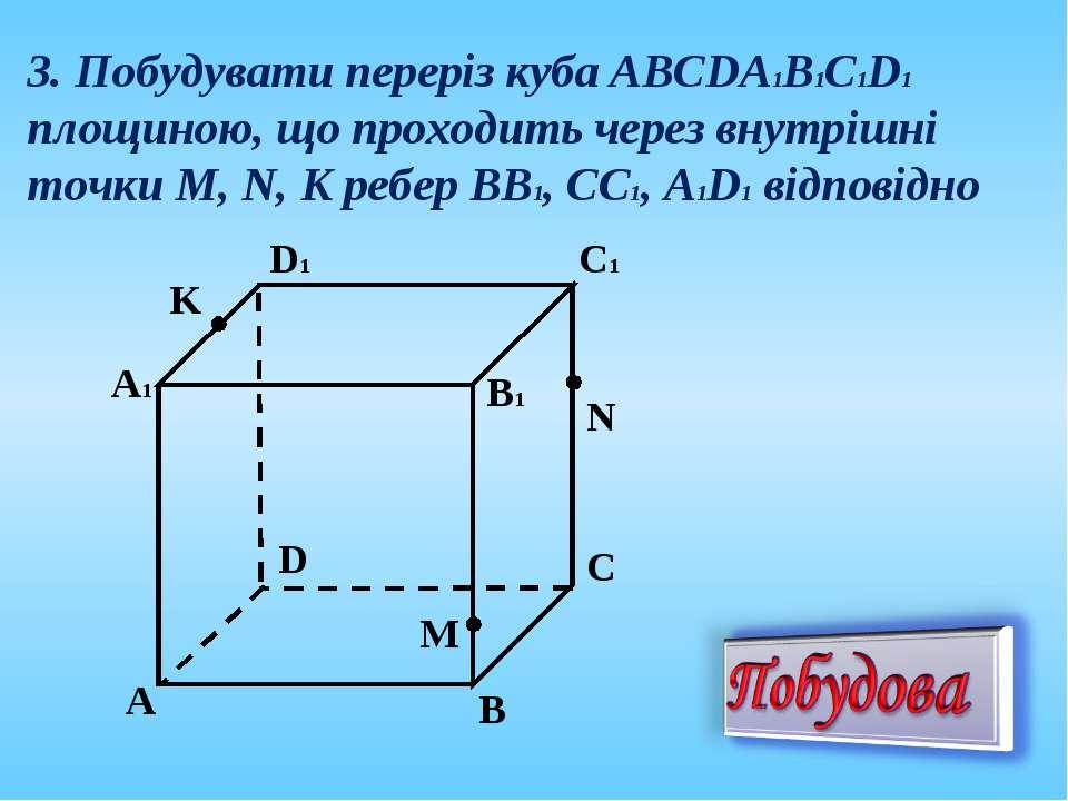 3. Побудувати переріз куба АВСDА1В1С1D1 площиною, що проходить через внутрішн...