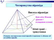 Чотирикутна піраміда Площина, яка паралельна основі піраміди й перетинає її, ...