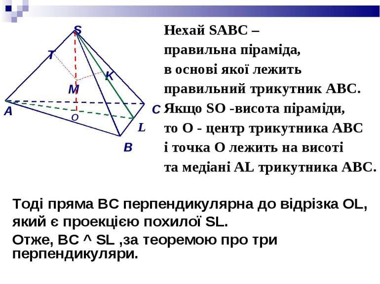 Нехай SАВС – правильна піраміда, в основі якої лежить правильний трикутник АВ...