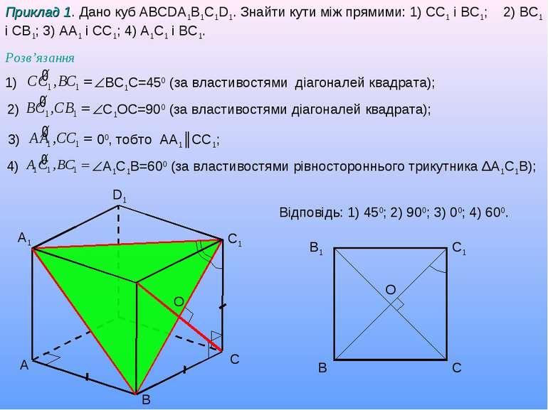 A B C D1 A1 C1 Приклад 1. Дано куб ABCDA1B1C1D1. Знайти кути між прямими: 1) ...
