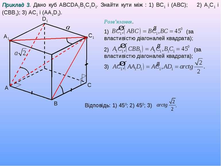 A C D1 A1 Приклад 3. Дано куб ABCDA1B1C1D1. Знайти кути між : 1) BC1 і (АBC);...