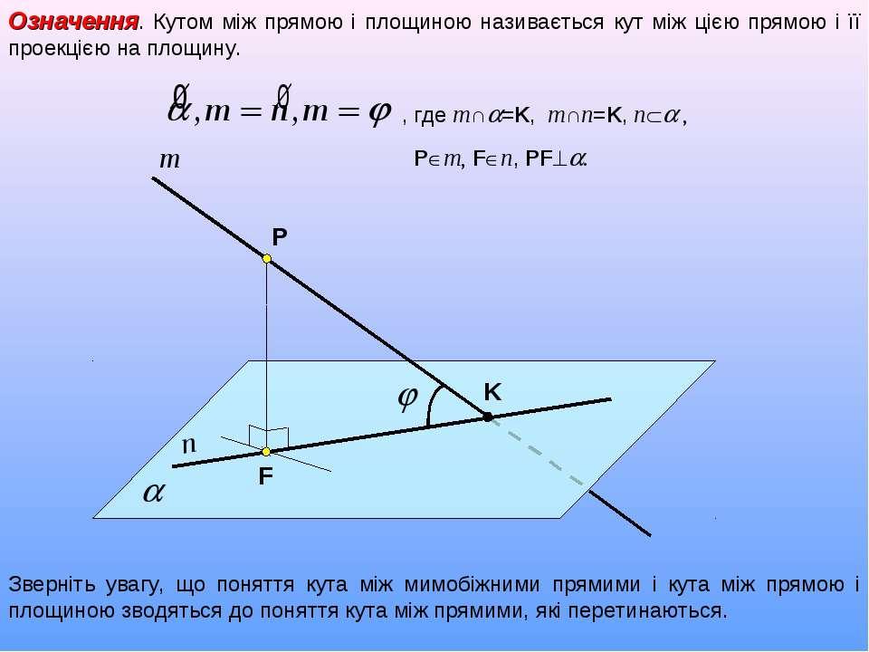 Означення. Кутом між прямою і площиною називається кут між цією прямою і її п...