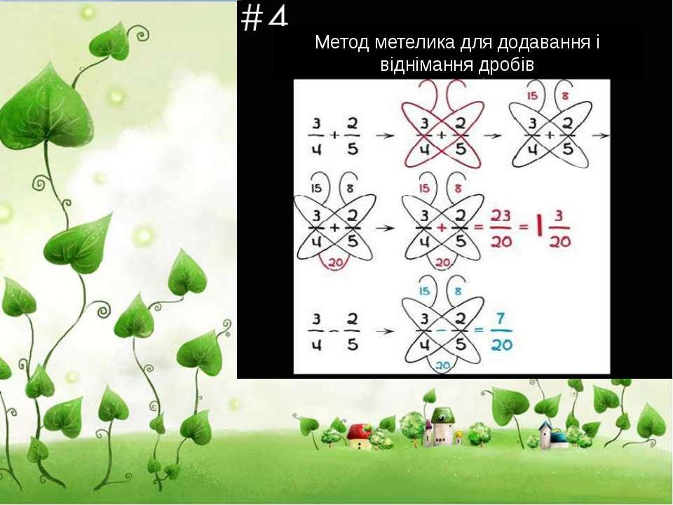 Метод метелика для додавання і віднімання дробів