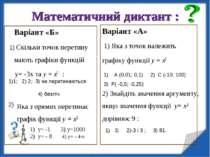 Математичний диктант : Варіант «Б» 1) Скільки точок перетину мають графіки фу...