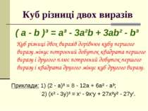 Куб різниці двох виразів ( a - b )³ = a³ - 3a²b + 3ab² - b³ Куб різниці двох ...