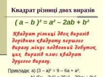 Квадрат різниці двох виразів ( a – b )² = a² – 2ab + b² Квадрат різниці двох ...