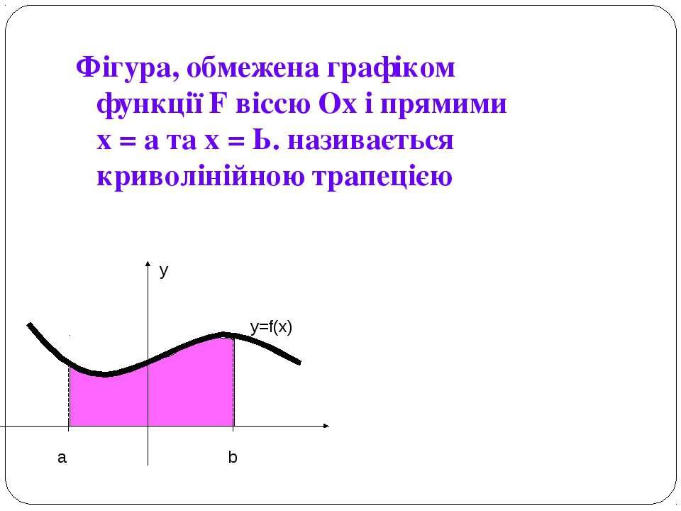 Фігура, обмежена графіком функції F віссю Ох і прямими х = а та х = Ь. назива...