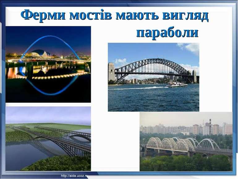 Ферми мостів мають вигляд параболи