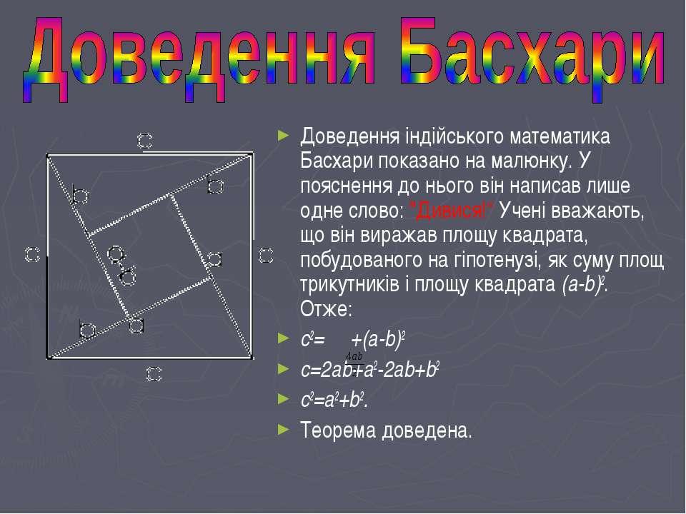 Доведення індійського математика Басхари показано на малюнку. У пояснення до ...