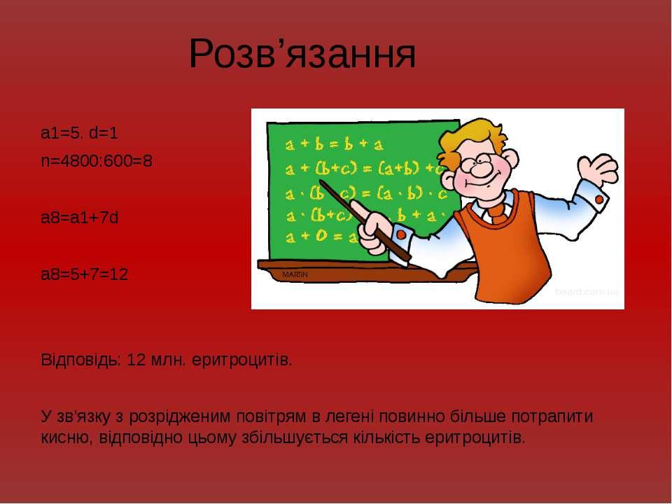Розв'язання a1=5. d=1 n=4800:600=8 a8=a1+7d a8=5+7=12 Відповідь: 12 млн. ерит...