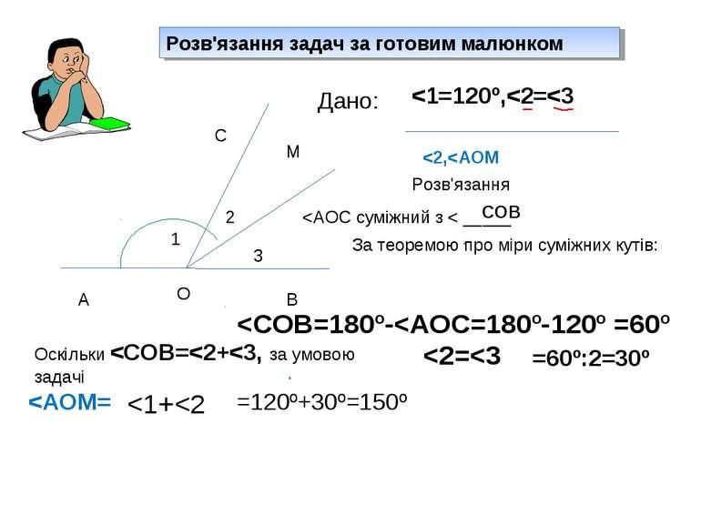 Розв'язання задач за готовим малюнком 1 2 3 А О В С М