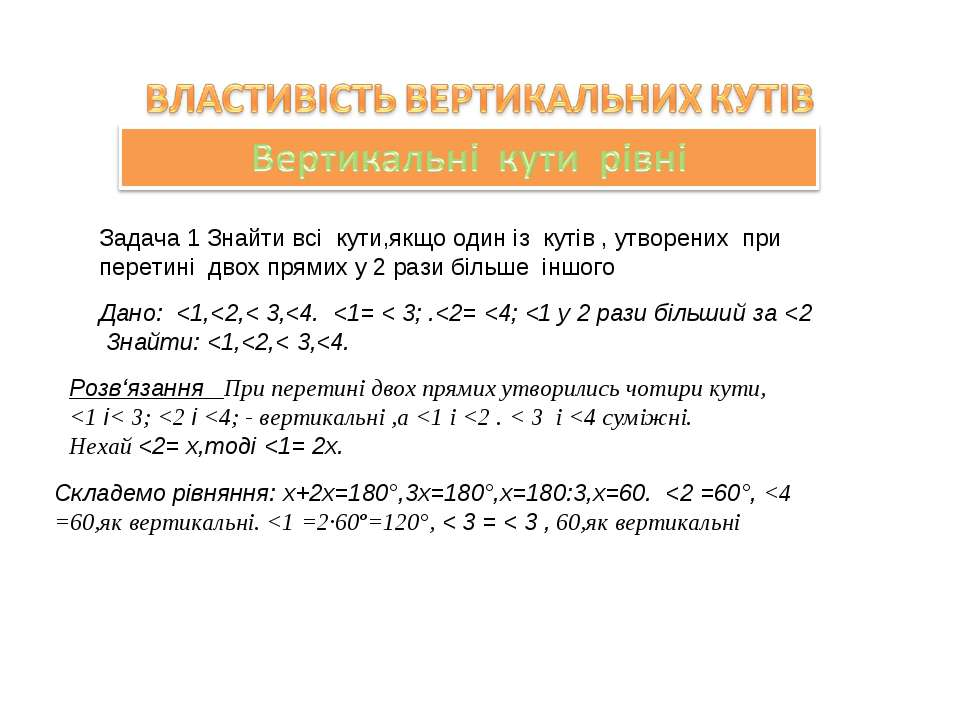 Задача 1 Знайти всі кути,якщо один із кутів , утворених при перетині двох пря...