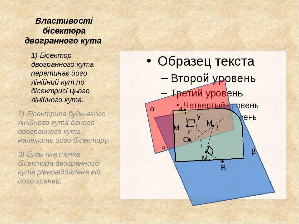 Властивості бісектора двогранного кута 1) Бісектор двогранного кута перетинає...
