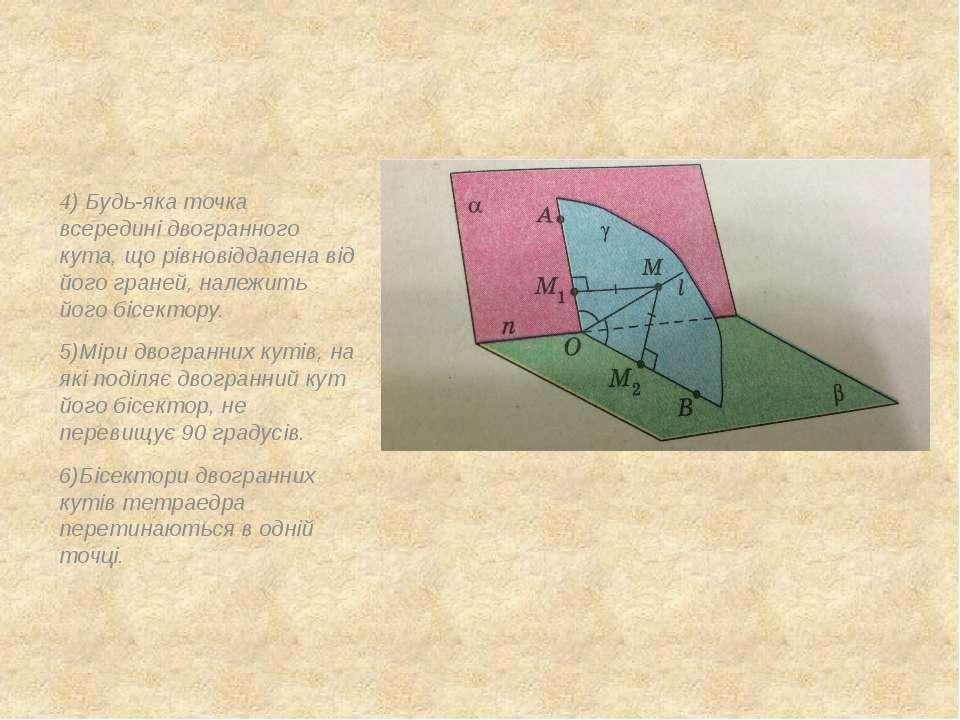 4) Будь-яка точка всередині двогранного кута, що рівновіддалена від його гран...