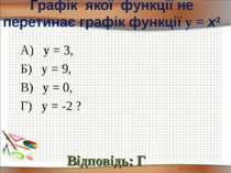 Графік якої функції не перетинає графік функції у = х2 Відповідь: Г А) у = 3,...