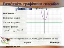 Розв'яжіть графічним способом рівняння : Розв'язання : Побудуємо в одній Сист...