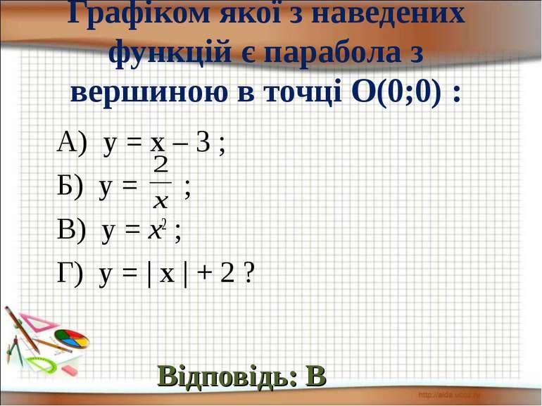 Графіком якої з наведених функцій є парабола з вершиною в точці О(0;0) : Відп...
