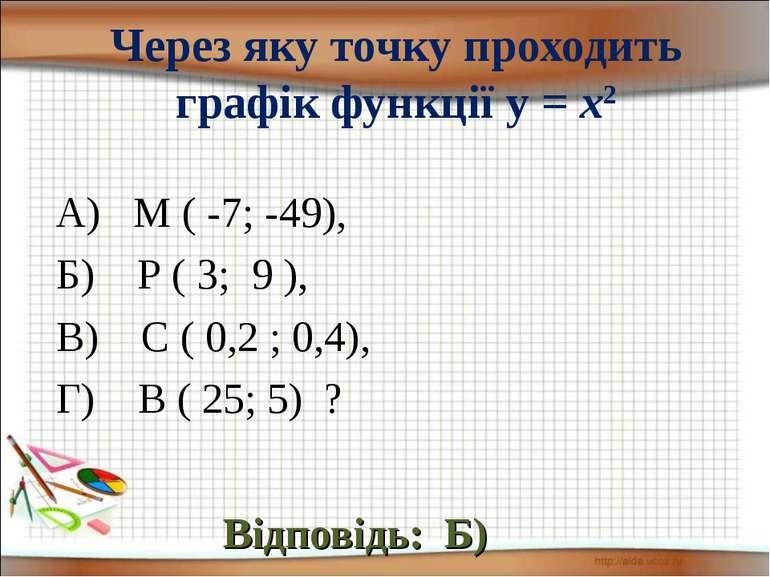 Через яку точку проходить графік функції у = х2 Відповідь: Б) А) М ( -7; -49)...