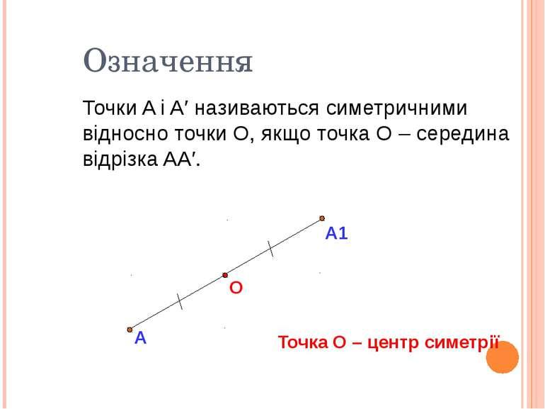 А О Точки A і A′ називаються симетричними відносно точки О, якщо точка О – се...