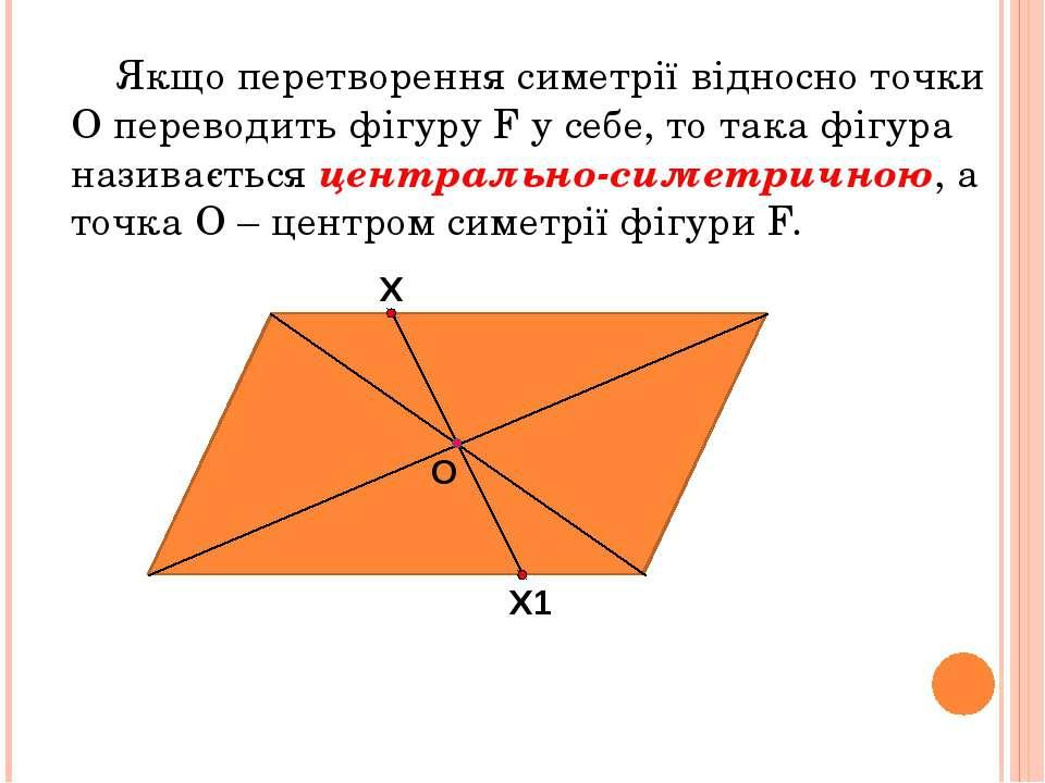 Якщо перетворення симетрії відносно точки О переводить фігуру F у себе, то та...
