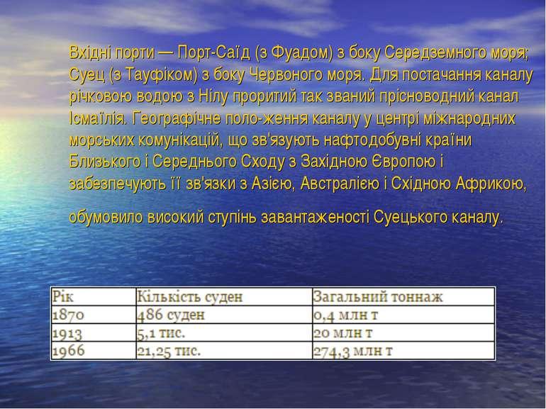 Вхідні порти — Порт-Саїд (з Фуадом) з боку Середземного моря; Суец (з Тауфіко...