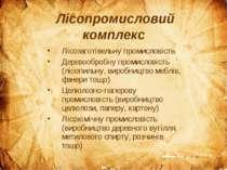 Лісопромисловий комплекс Лісозаготівельну промисловість Деревообробну промисл...