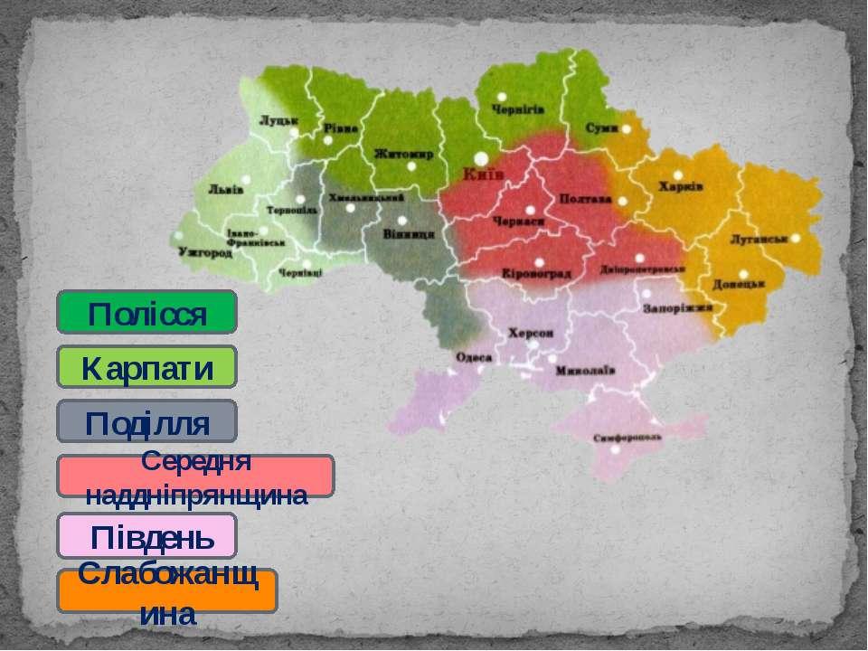 Поділля Карпати Середня наддніпрянщина Південь Полісся Слабожанщина