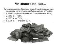Чи знаєте ви, що... Вугілля впродовж багатьох років було і залишається основн...