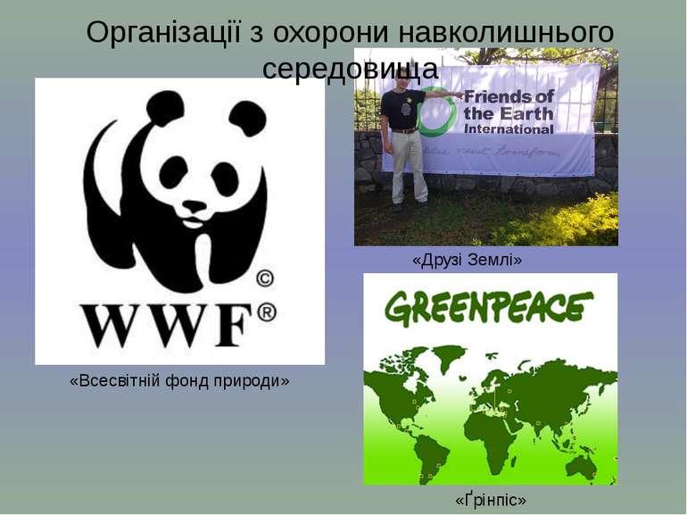 «Всесвітній фонд природи» «Друзі Землі» «Ґрінпіс» Організації з охорони навко...