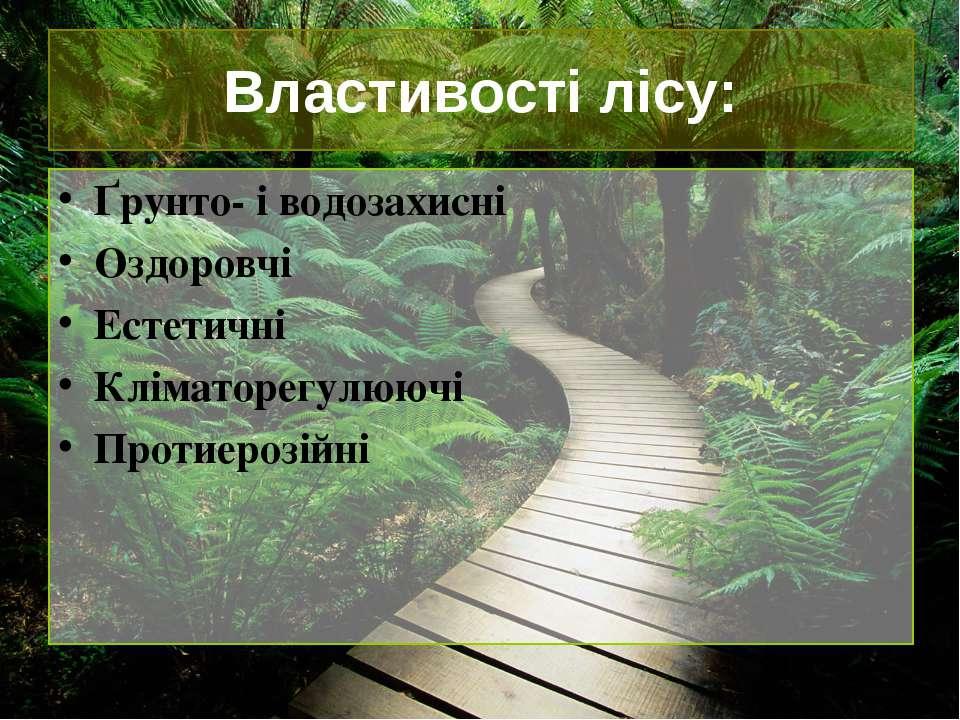 Властивості лісу: Ґрунто- і водозахисні Оздоровчі Естетичні Кліматорегулюючі ...