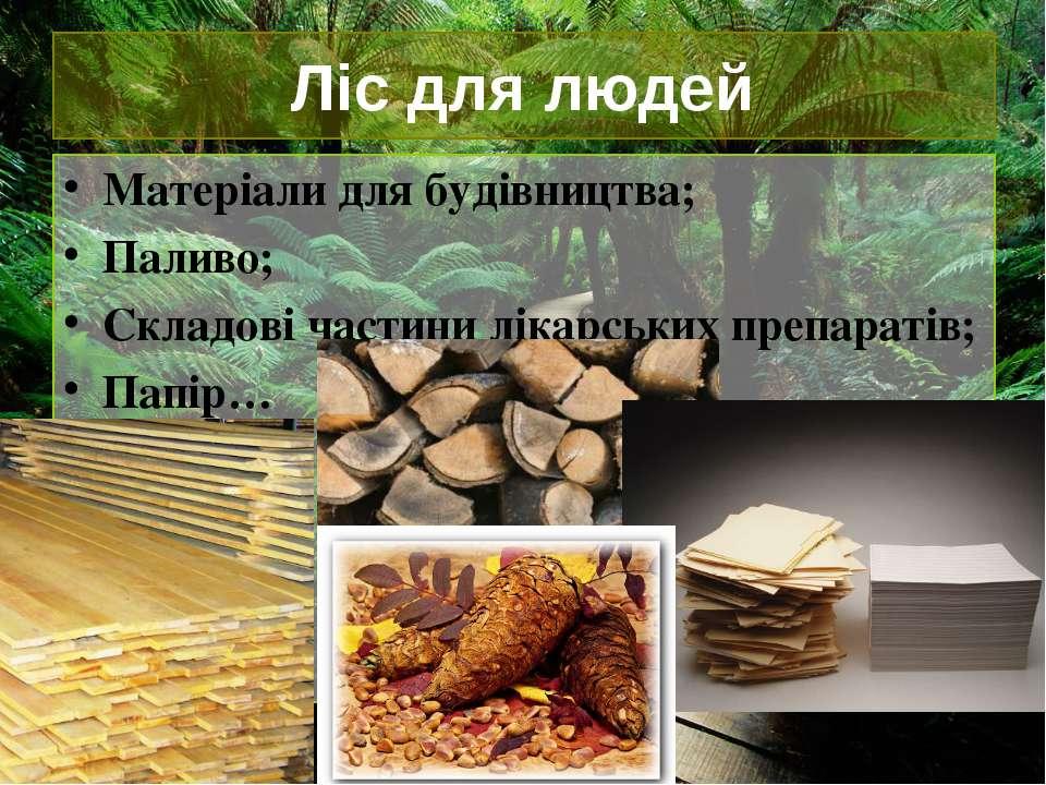 Ліс для людей Матеріали для будівництва; Паливо; Складові частини лікарських ...