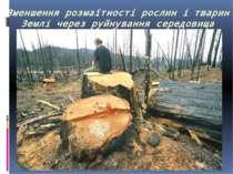 Зменшення розмаїтності рослин і тварин Землі через руйнування середовища їхнь...