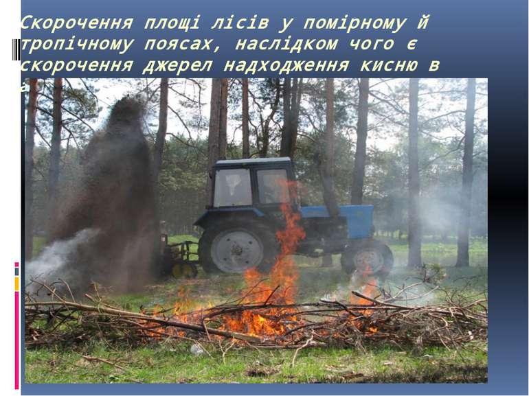 Скорочення площі лісів у помірному й тропічному поясах, наслідком чого є скор...