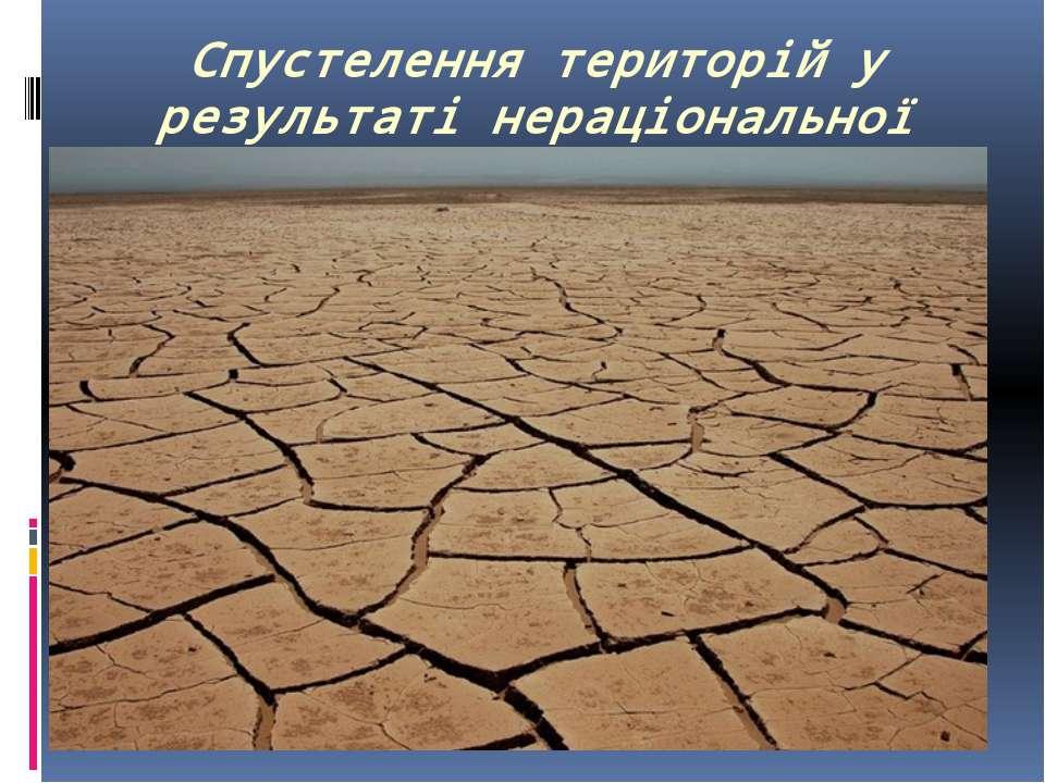 Спустелення територій у результаті нераціональної господарської діяльності;
