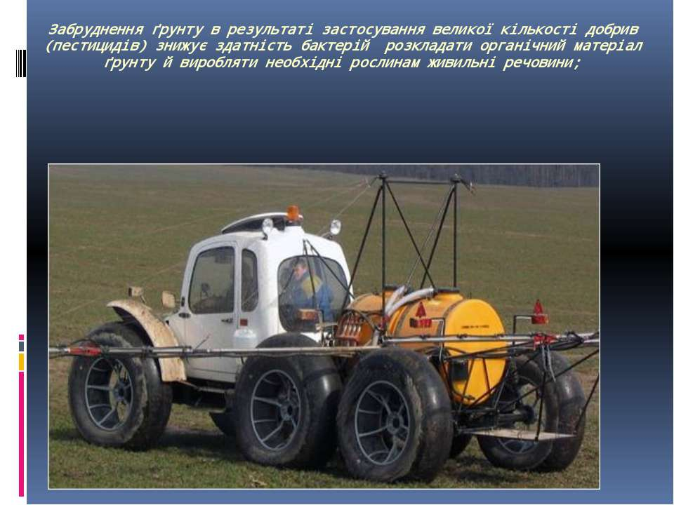 Забруднення ґрунту в результаті застосування великої кількості добрив (пестиц...